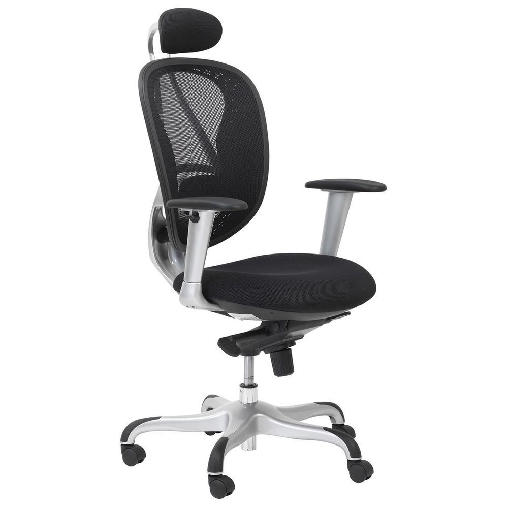 Mesh Executive Office Chair Black High Back Seat Adjustable Height Headrest