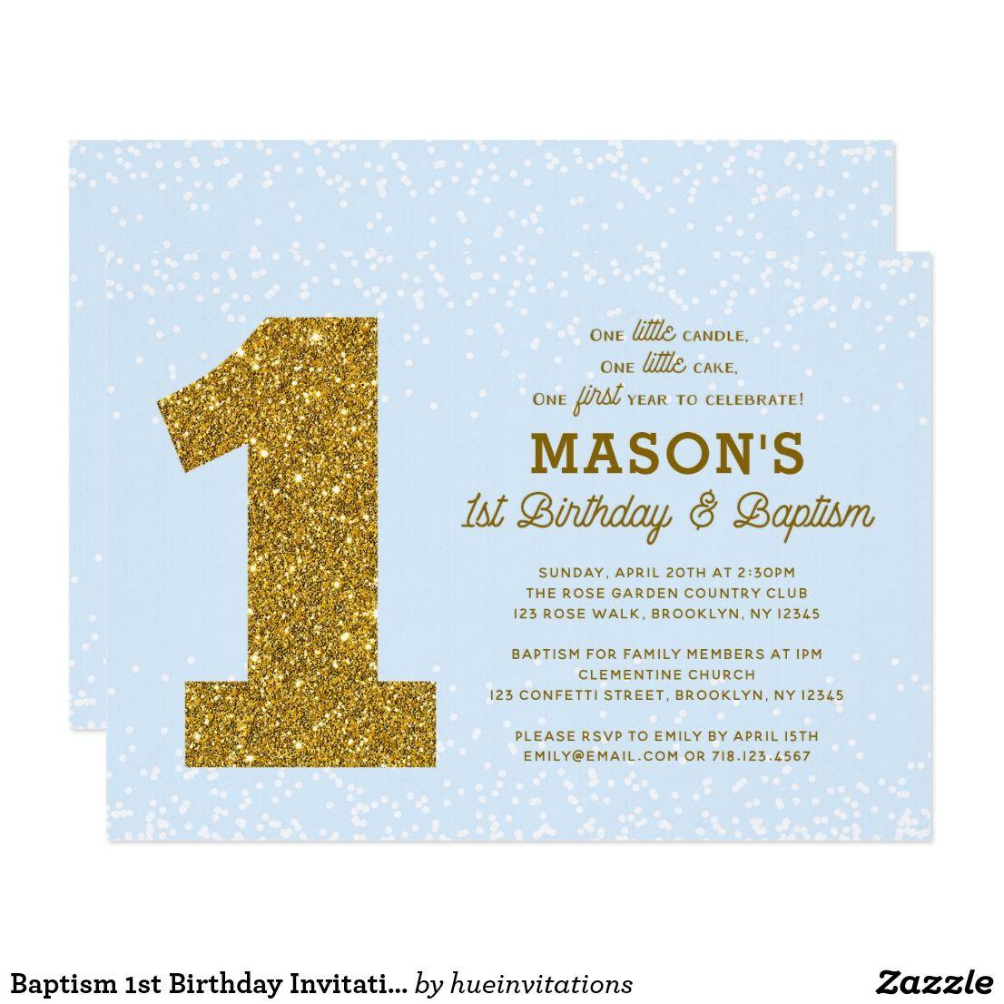 Baptism 1st Birthday Invitation Blue Gold Boy   Blue gold and Birthdays