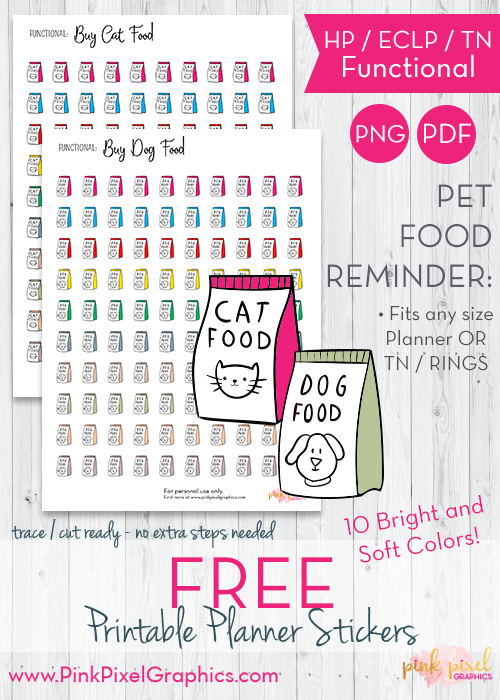graphic regarding Free Printable Food Planner Stickers named Dog Foodstuff Reminder Realistic Planner Stickers - Print and