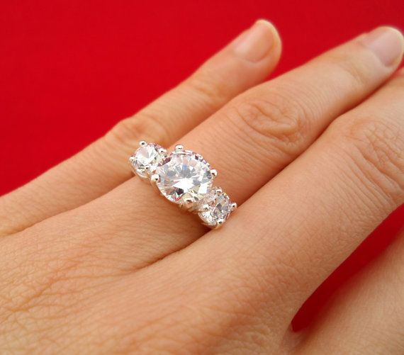3 carat Diamond Anniversary Engagement 3 stone Ring size 7 Man Made