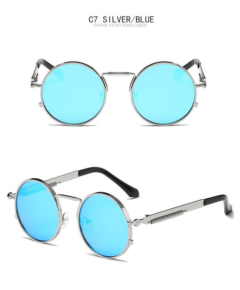 Retro Punk Style Round Metal Frame Sunglasses