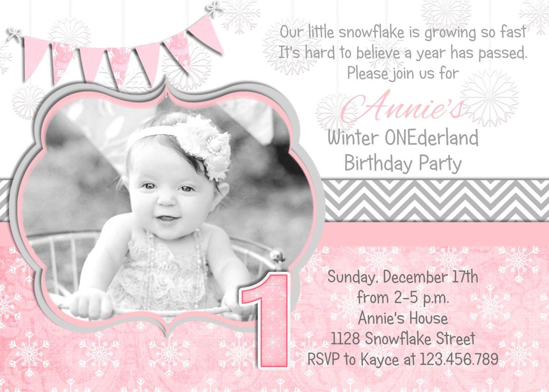 Snowflake Winter ONEderland Invitation Photo Card by 3PeasPrints ...