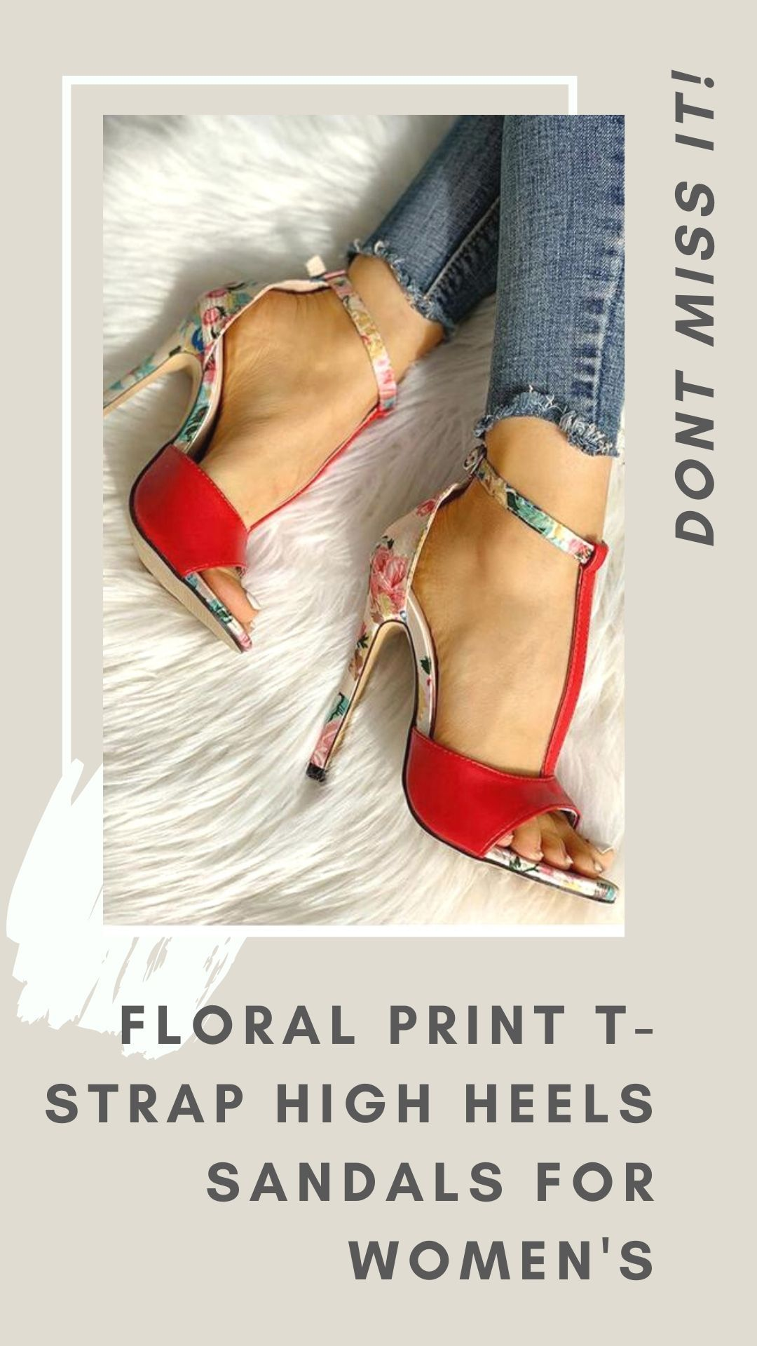 Floral Print T-Strap High Heels Sandals for Womens