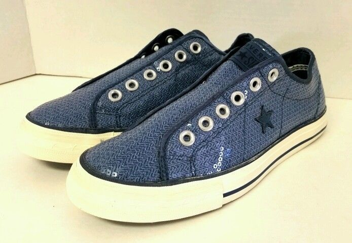 afcc1a6852c321 Women s Converse One Star Laceless Slip on Blue Size 8 Shoe Low Top Glitter