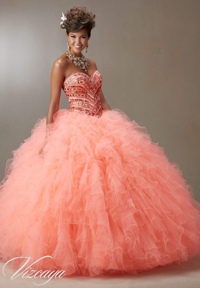 Quinceanera dress vizcaya morilee jeweled beading on a ruffled