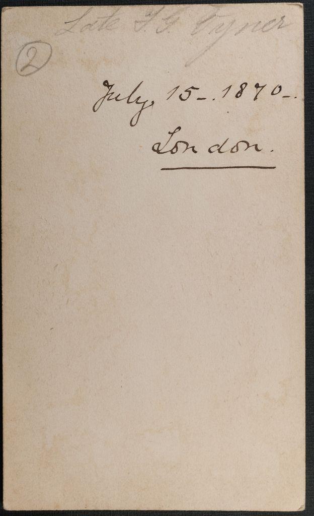 Reverse Of Carte De Viste By Guggenheim Oxford