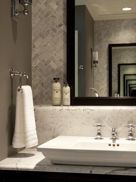tile is bianco carrara white carrera marble tile herringbone mosaic polish such lovely warm gray great bathroom and i - Bathrooms Houzz