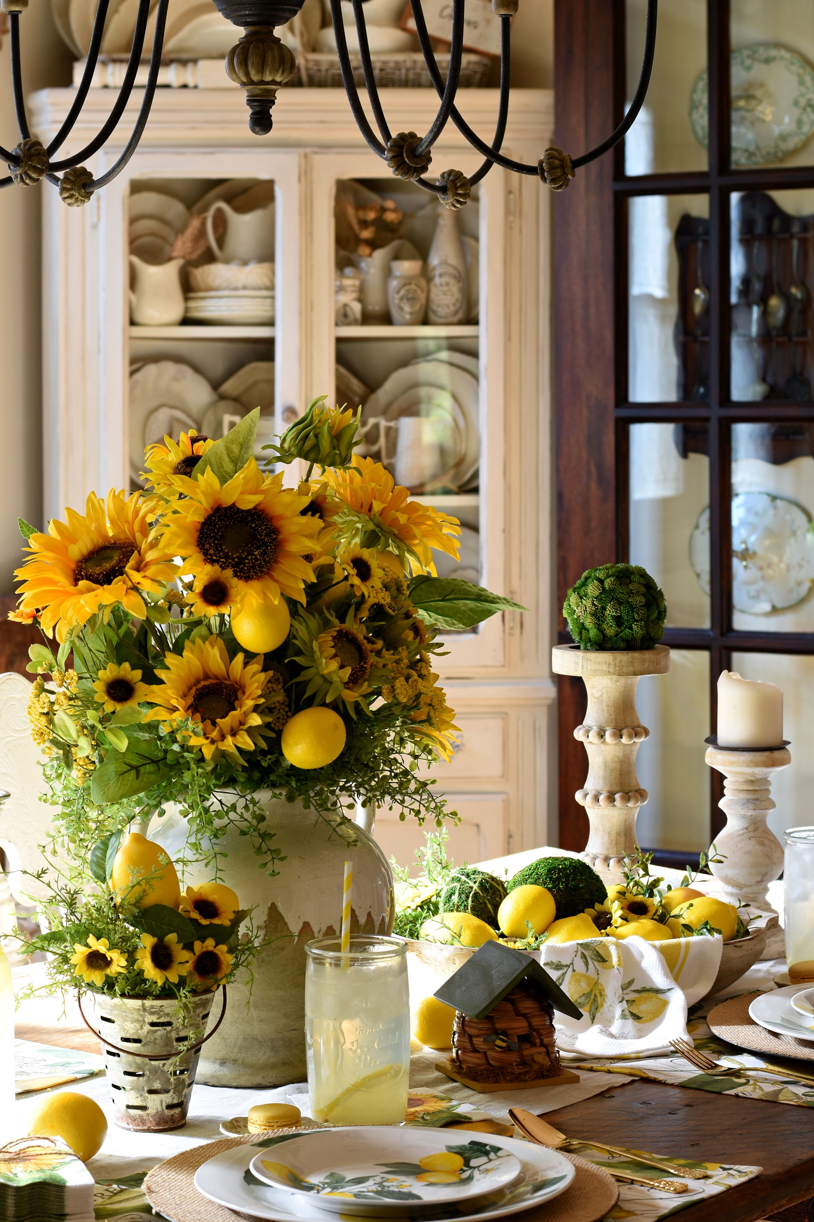 French Farmhouse Lemons and Sunflowers Tablescape Coffee