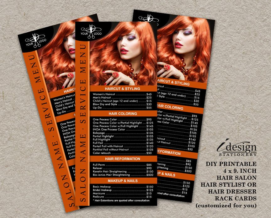 Hair Salon, Hair Stylist Or Hairdresser Rack Cards Printable - hair salon flyer template
