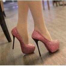Sapato Brilhante Salto Alto (rosa ou prata)