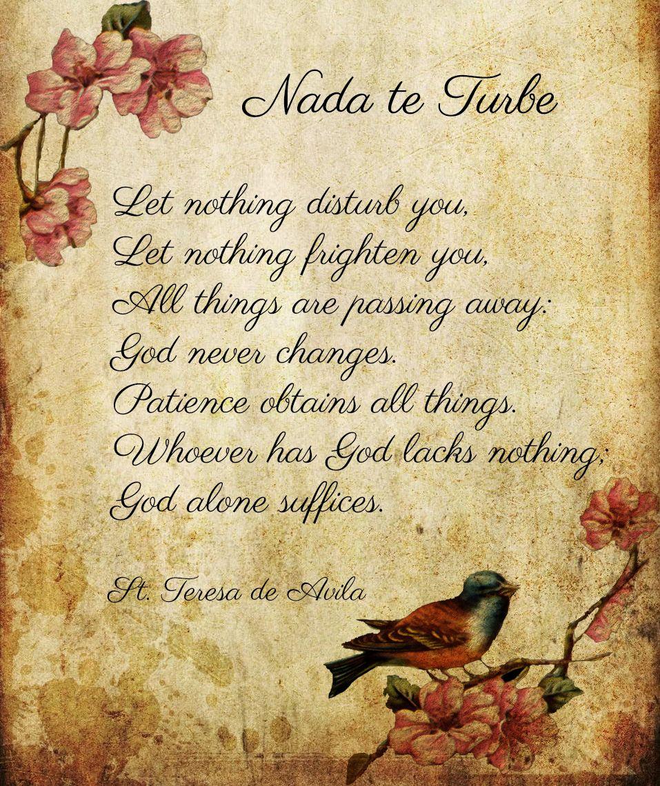 Let Nothing Disturb You St Teresa De Avila Image Designed By