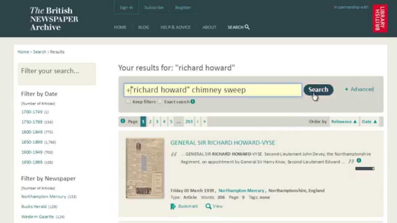 Find out how to search copies of old newspapers for an ancestor or particular person from history at The British Newspaper Archive.