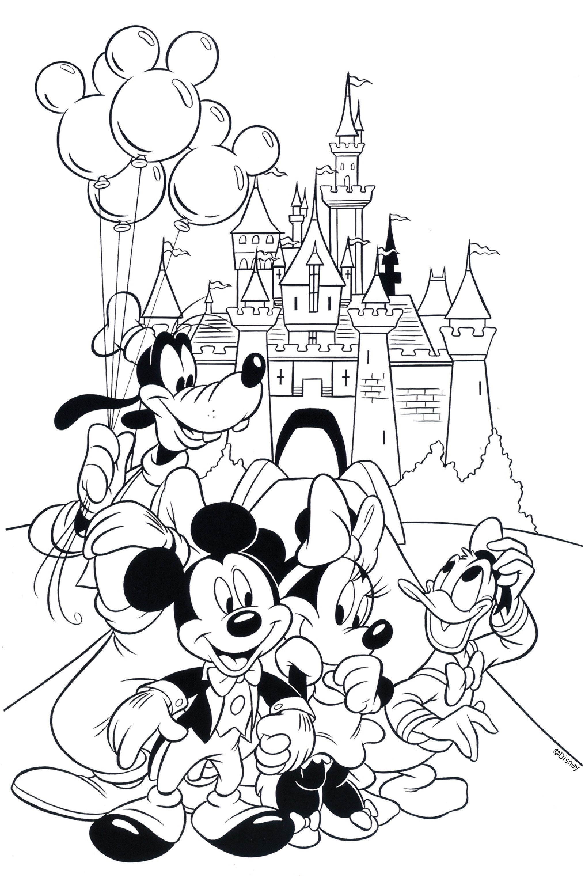 A Few Of His Favorite Characters Free Disney Coloring Page Printable