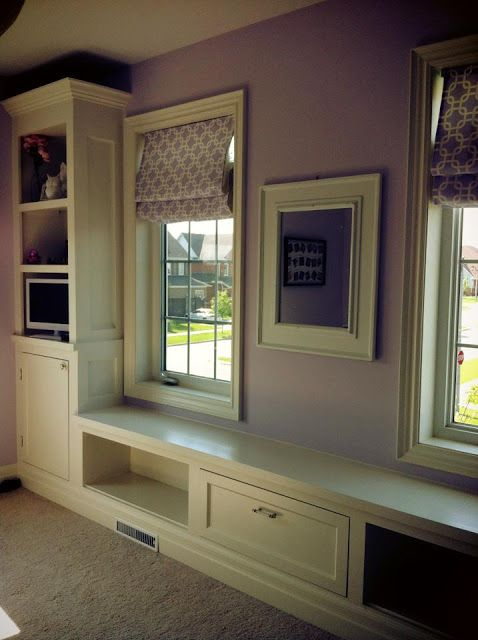 Just Beachy, White Built-ins, Bookcase With Window Seat