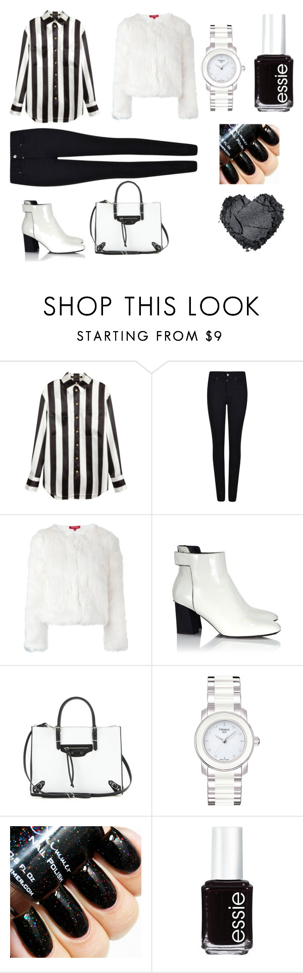 """""""Untitled #60"""" by laimabakhtani ❤ liked on Polyvore featuring Balmain, Giorgio Armani, n:PHILANTHROPY, Proenza Schouler, Balenciaga, Tissot and Essie"""