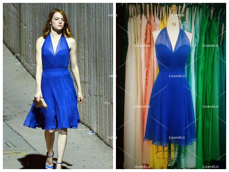 emma stone royal blue cocktail party dress in movie 39 la la land 39 celebrity wedding dress. Black Bedroom Furniture Sets. Home Design Ideas