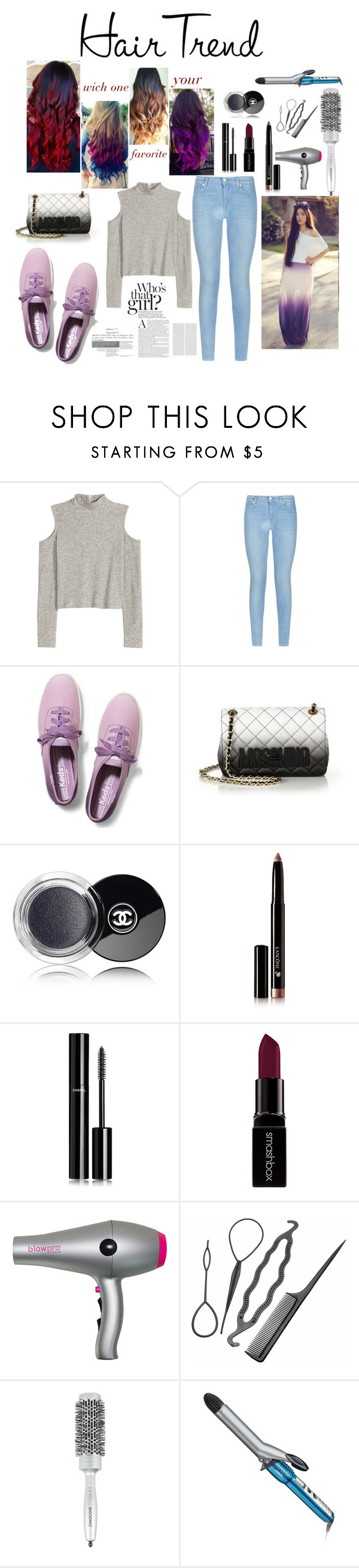 """ombre style"" by rputriwidyastri ❤ liked on Polyvore featuring beauty, 7 For All Mankind, Keds, Moschino, Chanel, Lancôme, Smashbox, blow, Bio Ionic and Conair"