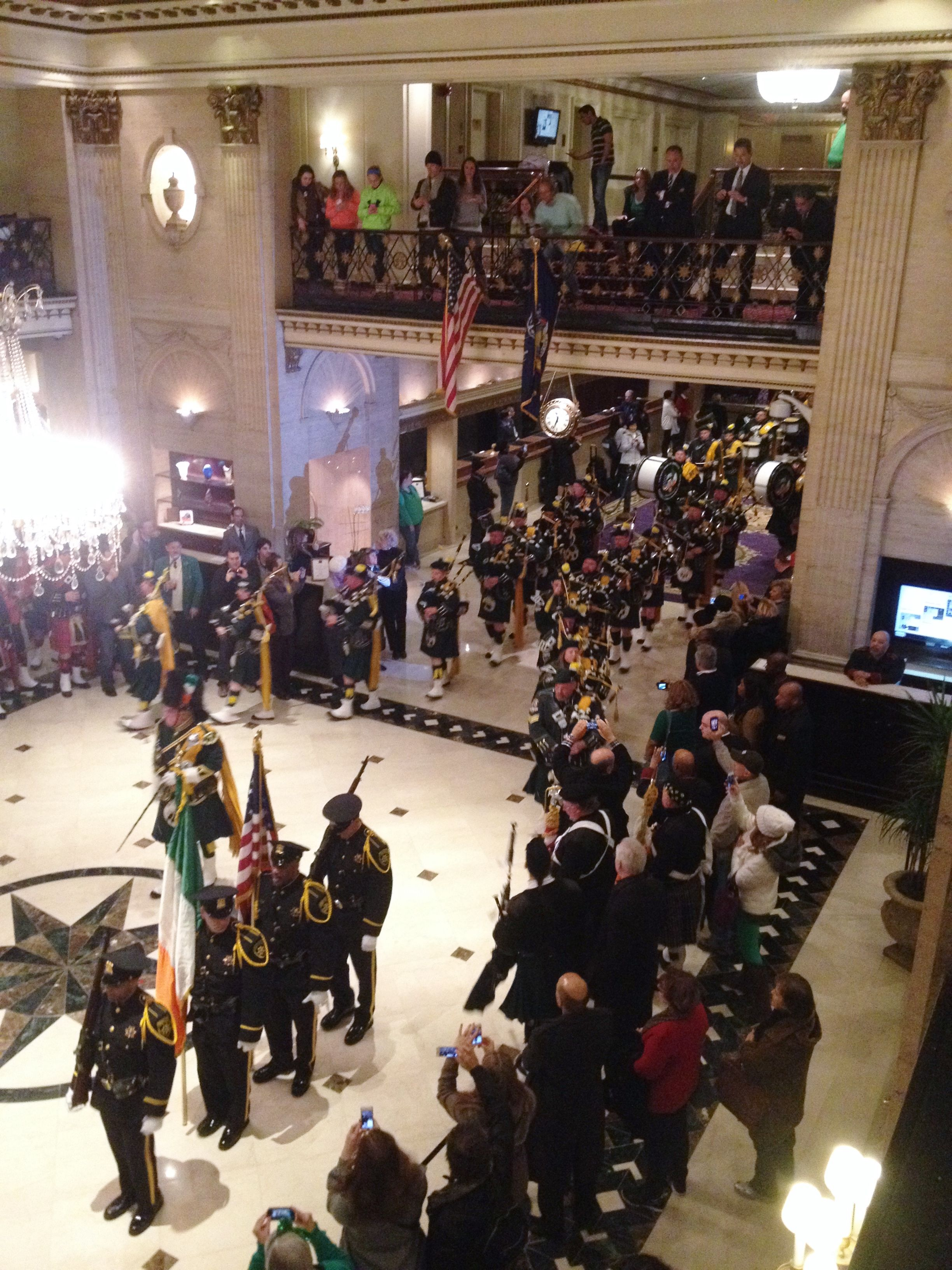 Bagpipe procession entering the lobby