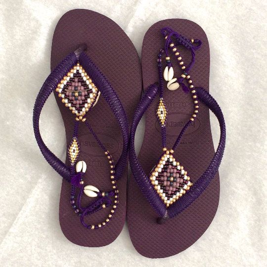 5989643a79c579 Stunning BOHO decorated Purple   Gold beaded Havaianas flip flops sandals  You can decorate your hands