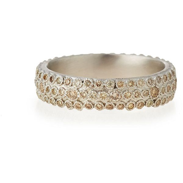 Armenta New World Champagne Diamond Eternity Stack Ring featuring polyvore, women's fashion, jewelry, rings, silver, eternity ring, stackable eternity rings, stackers jewelry, armenta and champagne ring