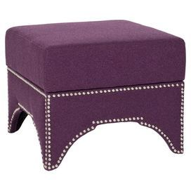 """Nailhead-trimmed storage ottoman with plum-hued upholstery.    Product: Storage ottomanConstruction Material: Plywood and fabricColor: PlumFeatures:  Nailhead trim Interior storage Arched silhouetteDimensions: 16.5"""" H x 20.3"""" W x 20.3"""" D"""