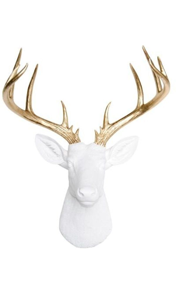 Large Deer Head White And Gold Wall Mount 14 Point Stag Antlers Faux Taxidermy Nd0108 Best Price