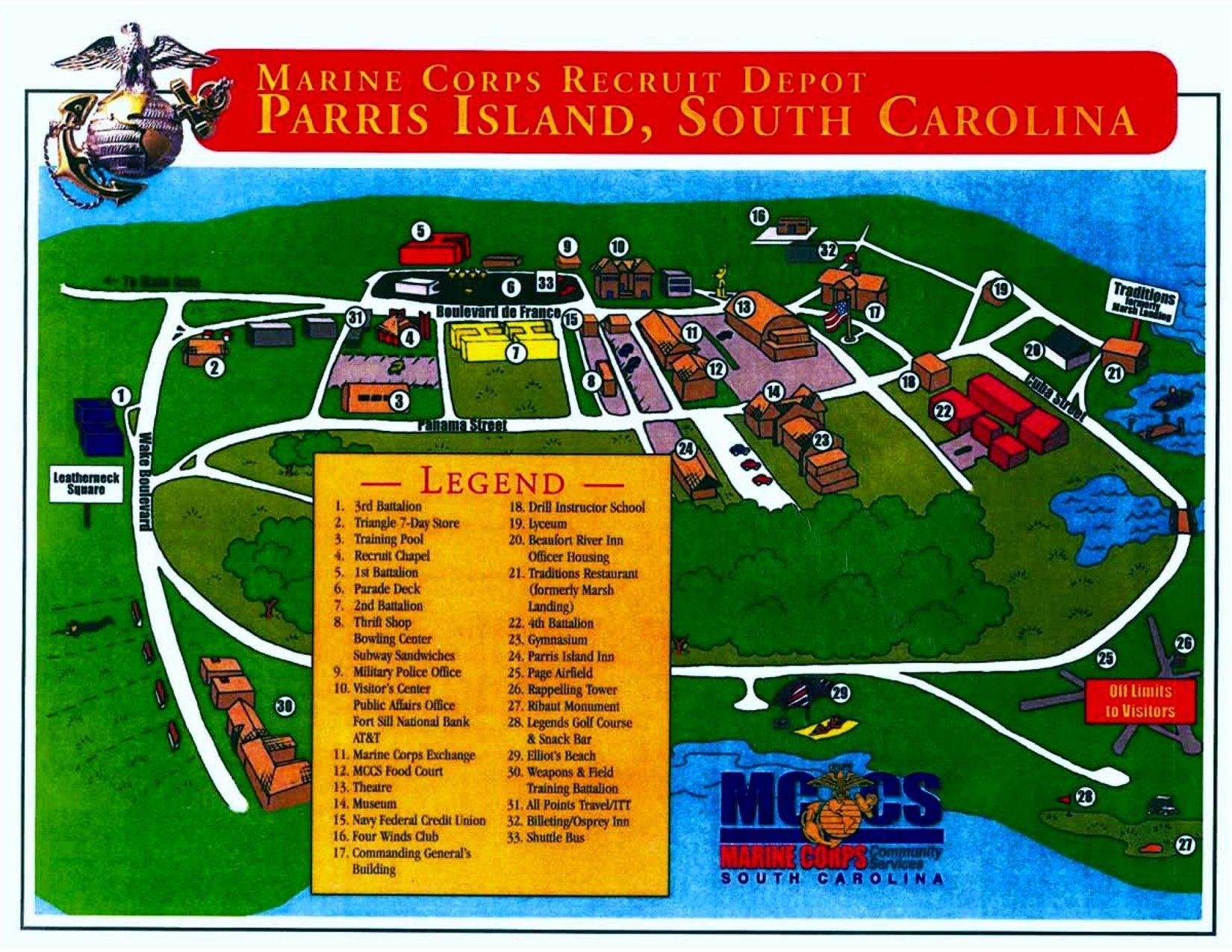 Parris Island Map Parris Island Map