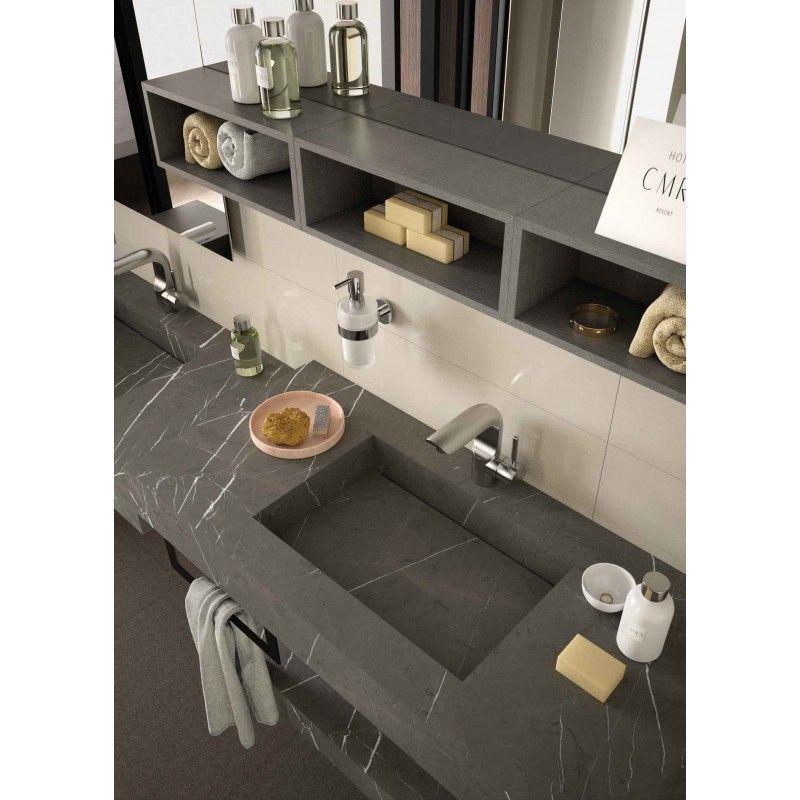 Mensola Stone lavabo integrato Pietra grigia (con
