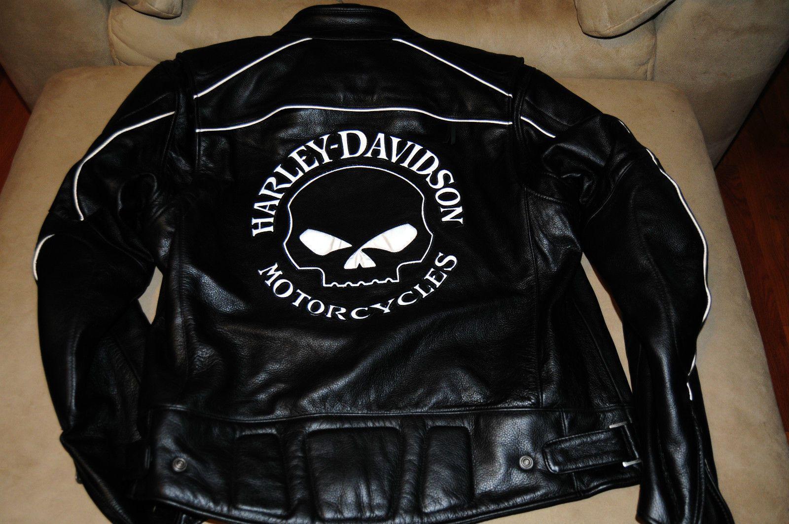 Reflective Skull Leather Jacket Harley Davidson