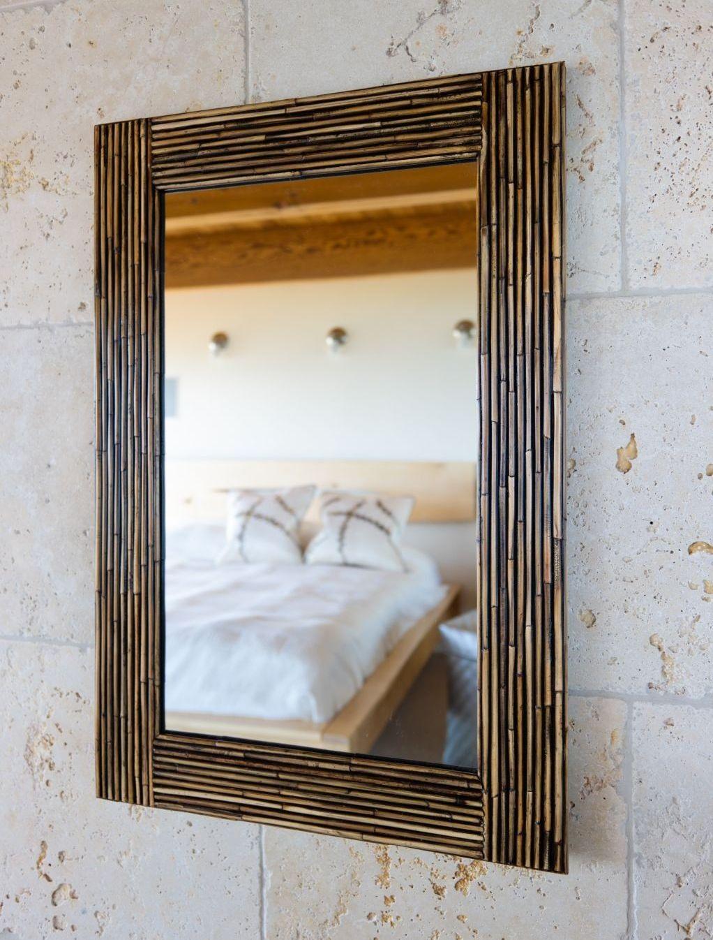 rattan laminated frame mirror wall