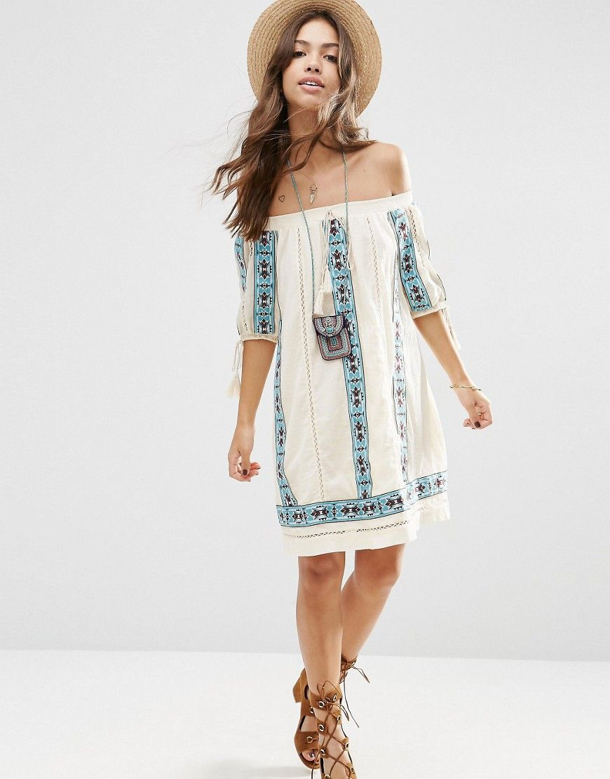 Trillium Phoebe Tribal Embroidered Dress ...