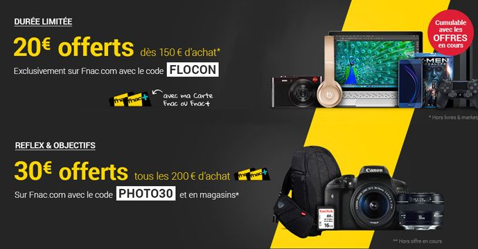 We Adherent Fnac 20 Ou 50 Offerts Code Promo Cartes Achat