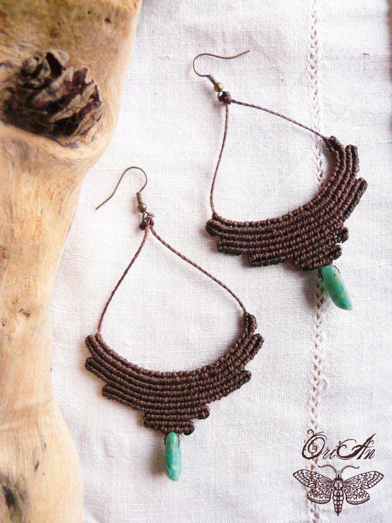 Pixie tribal macrame earrings earthy hoop gypsy by OrianCrafts.