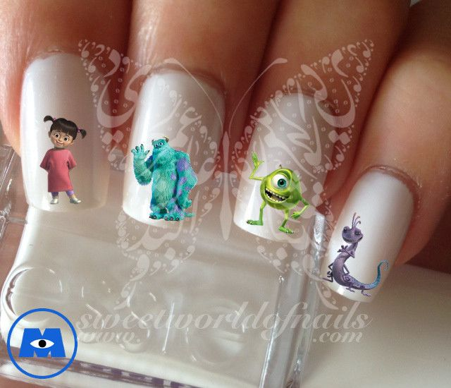 Monsters Inc Nail Art Nail Water Decals | Arte de uñas, Manicuras y ...