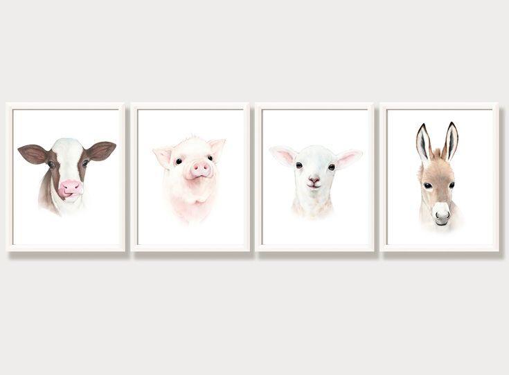 Bauernhaus Kinderzimmer Dekor, Tierporträts, Baby