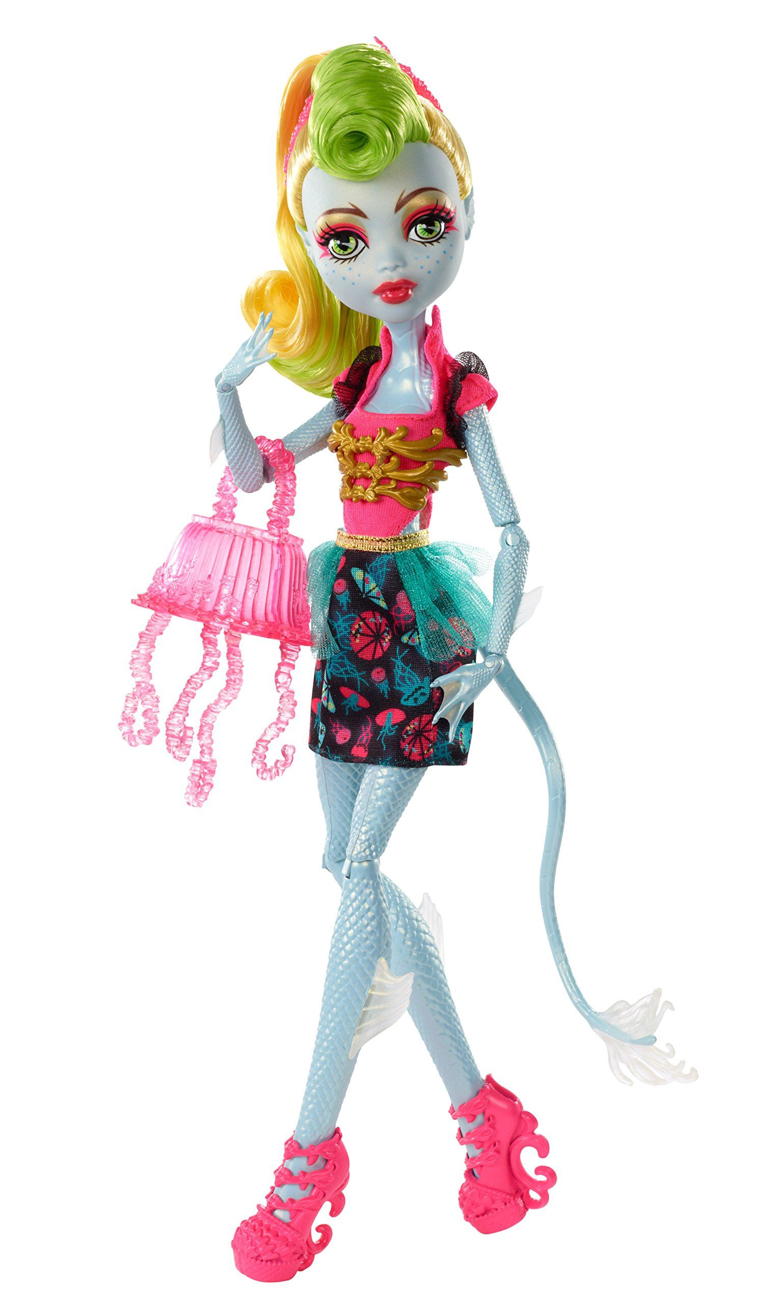 "Monster High Freaky Fusion ""Lagoonafire"". Neon green pin curls? Where were these dolls when I was little?"