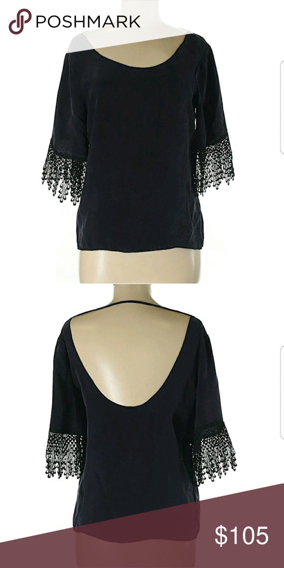 c077353e41a 🌷For Love and Lemons festival top Beautiful deep purple/ plum with 3/4 bell  sleeve top. Black lace appliqué sleeve. In EUC . I'd say nwot 100% rayon.