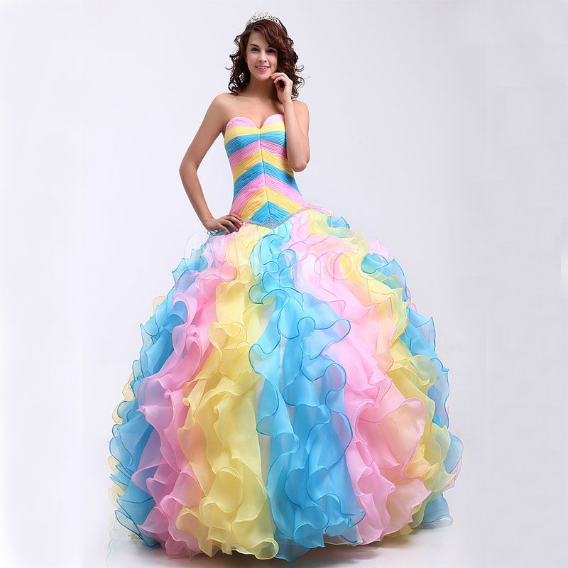 d1d12255c Click to Buy    Cheap Quinceanera Dresses 2017 Colorful Organza Princess  Ball Gowns.