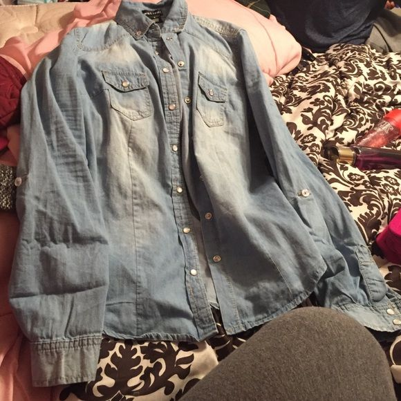 new jean shirt never wore, small from wet seal! New Jean shirt! Never been wore!! Size small from WetSeal! Wet Seal Jeans