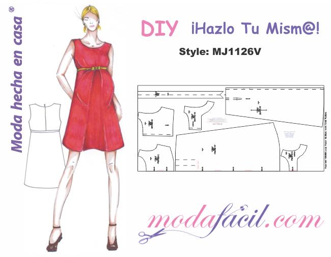 cc3aef2a6 Descarga gratis los Moldes de Vestido de Maternidad disponibles en 12  tallas listos para cortar