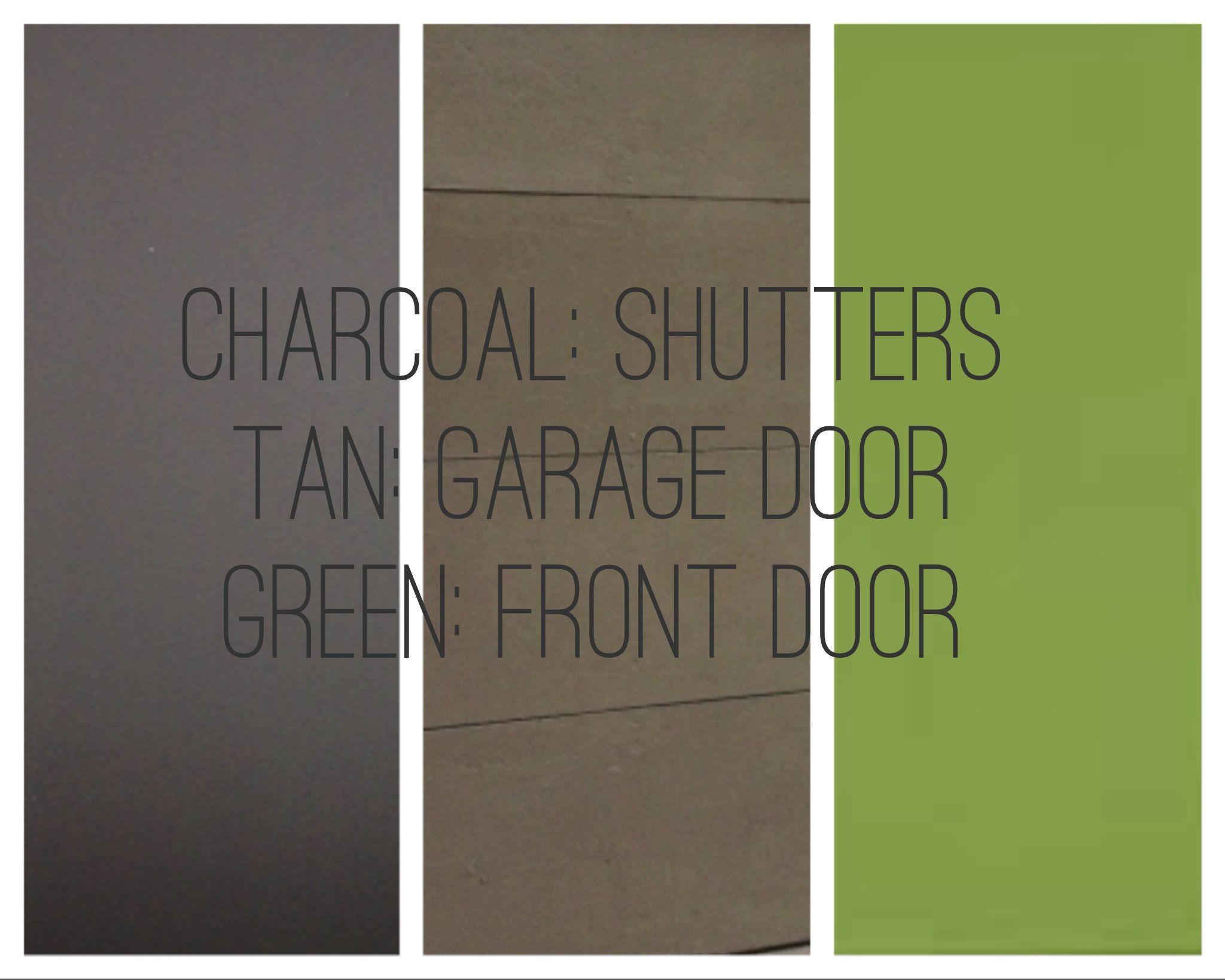 Green Front Door Charcoal Shutters Tan Garage Trim