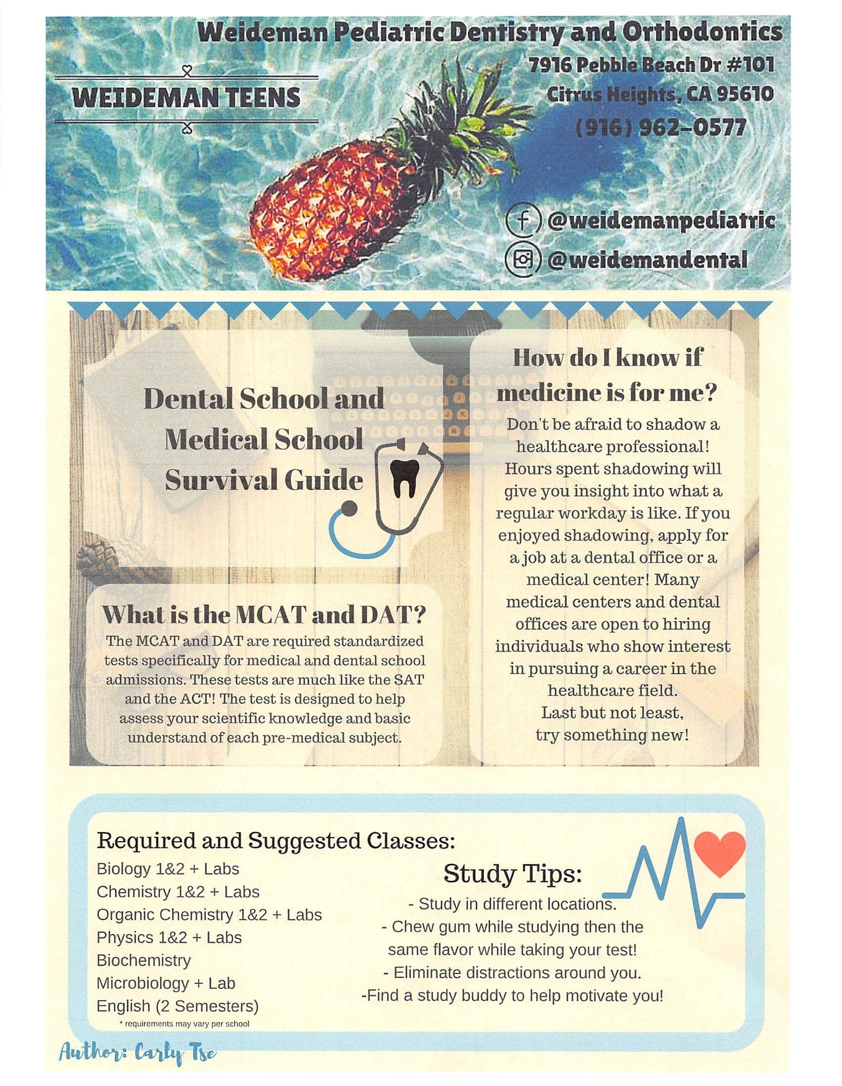 Weideman Teens Newsletter - March 2017 - Dental/Medical School Edition #TeamWeideman #WeidemanDental www.sacchildrensdentist.com