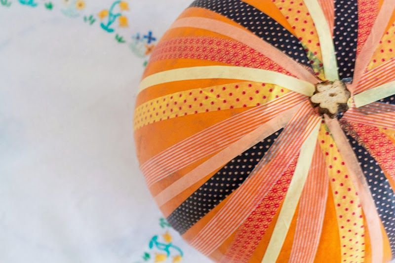 Pumpkin decorating, washi tape