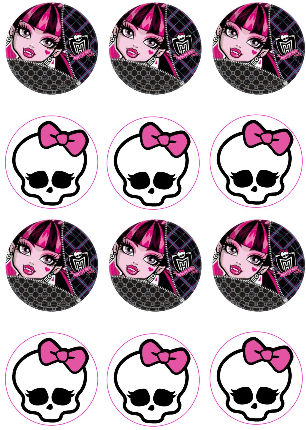 Monster High Edible Image Cupcake Toppers by ShoreCakeSupply on Etsy ...