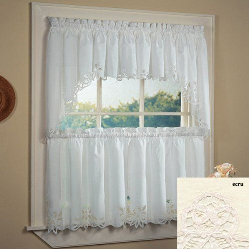Fancy Collection 3Pc Off White With Embroidered Kitchenchttps Gorgeous White Kitchen Curtains Design Decoration