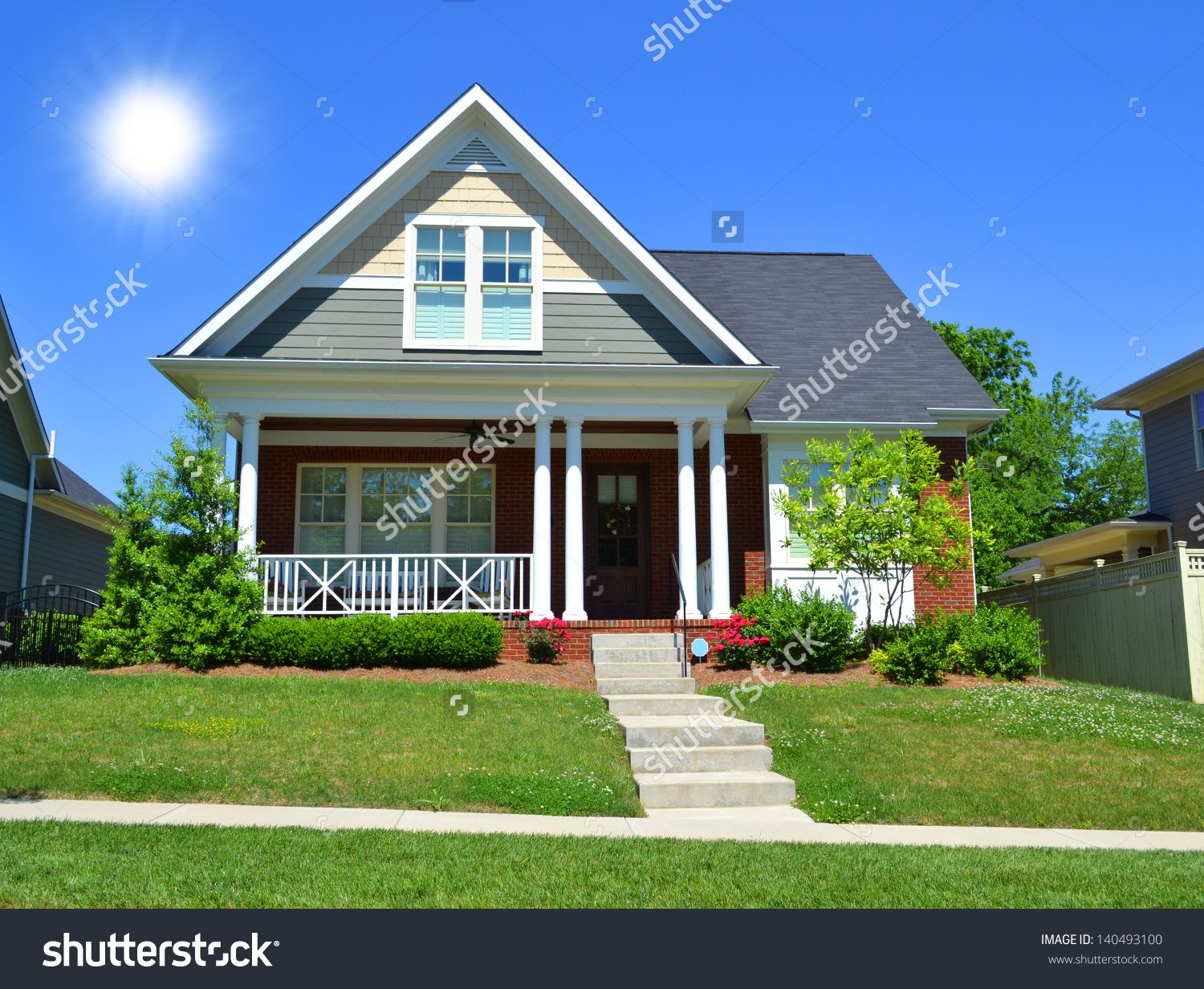 Covered front porch craftsman style home royalty free stock image - Beautiful New England Style Suburban American Home With Large Front Porch In The Summertime Stock Photo From The Largest Library Of Royalty Free Images