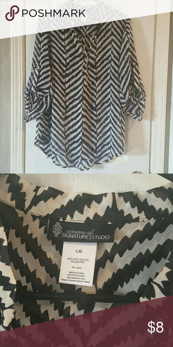 Ladies black and white blouse Nice sheer blouse can be worn with a cami. It has gold buttons. Great condition. signature studio Tops Blouses