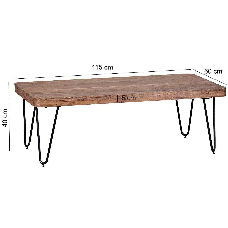 WOHNLING Couchtisch Massiv-Holz Akazie 115 cm breit Wohnzimmer-Tisch ...