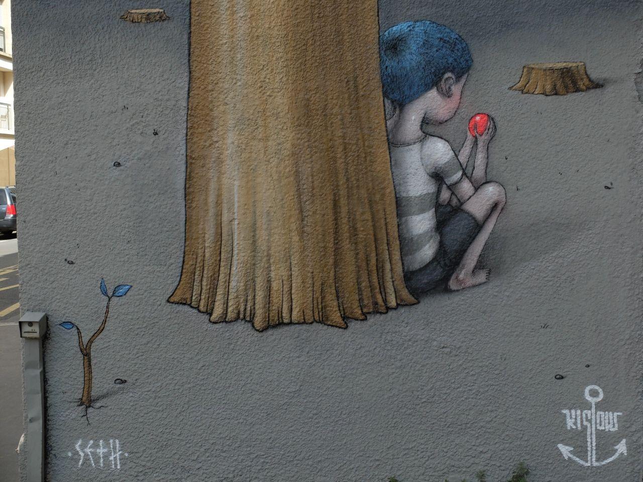 "Julien ""Seth"" Mallandand Kislow, thanks to streetartnews.net.Rue des Cordelières, Paris, August 2013"