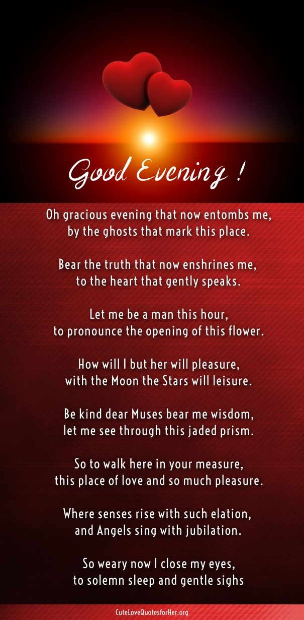 Good Evening Romantic Poetry English Her Cute Love Poems For Her Awesome From Her To Him Deep Messages